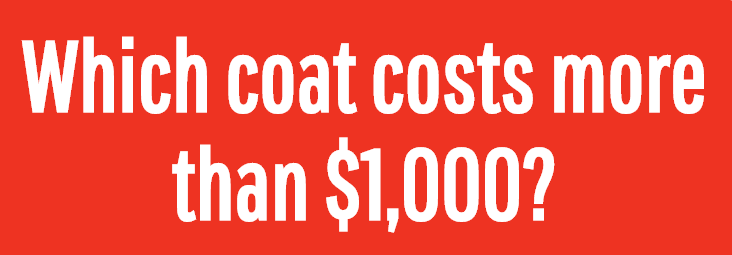 Image for Which coat costs more than $1,000?